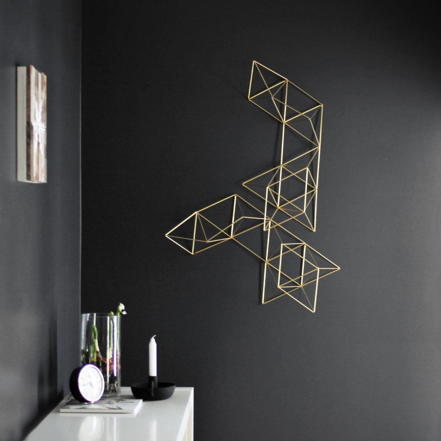 Large brass abstract himmeli no 1 wall sculpture for Minimalist wall