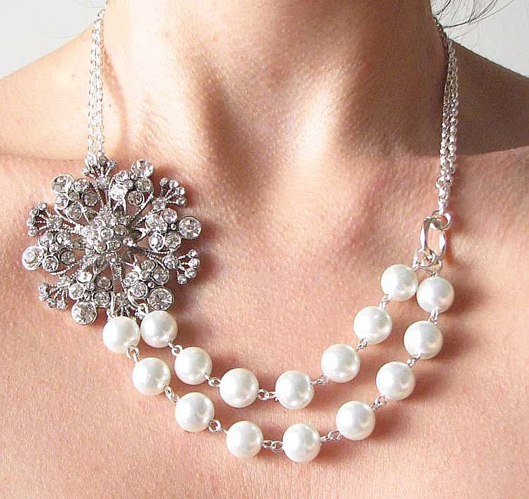 Bridal Jewelry Statement Wedding Necklace Pearl Wedding Jewelry Bib Bridal Necklace