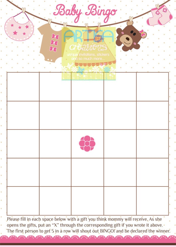 baby shower bingo bingo baby girl shower bingo baby girl shower