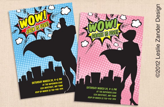 VINTAGE SUPERHERO personalized printable invitation package