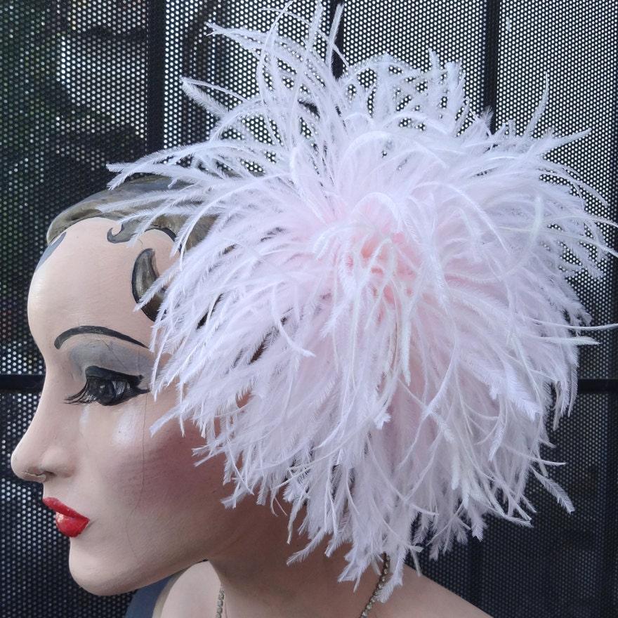 The Cream Puff Blush Pink Ivory Wedding Bridal Ostrich Feather