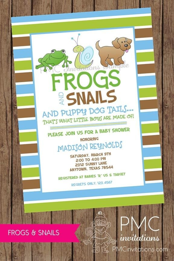 Frogs And Snails And Puppy Dog Tails Baby Shower Invitation