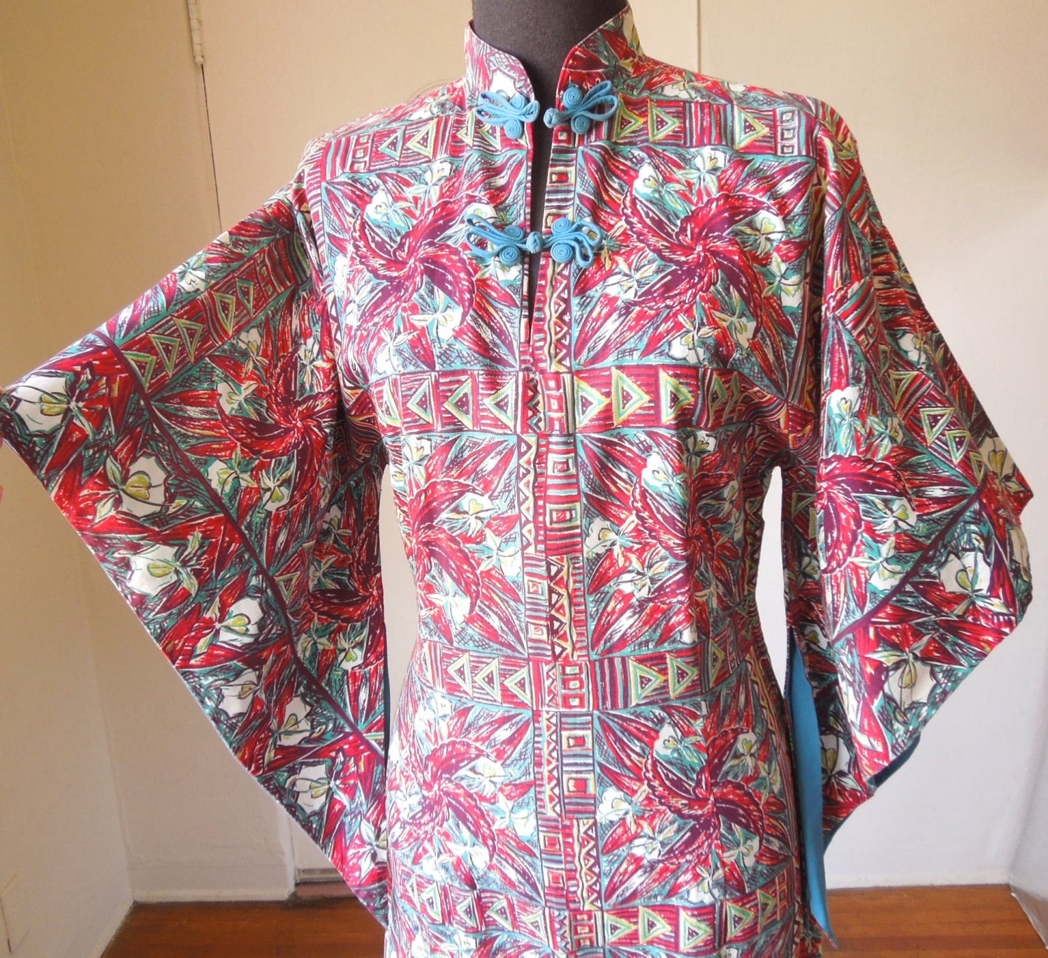 Vintage 50's Pake Mu Dress, Hawaiian, Rayon, Teal Red and White Tropical Print, By Liberty House, Rockabilly, Size Medium