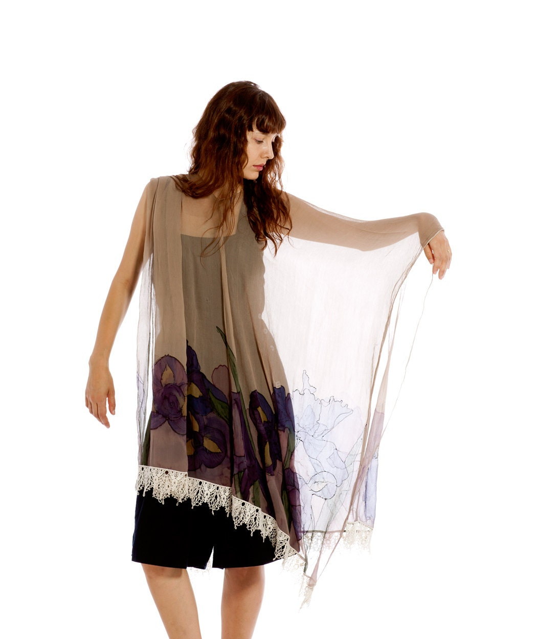 Hand painted silk scarf.Silk chiffon Set- Shawl and Tunic - The plum Irises with beige-Mothers day gift-One size - klaradar