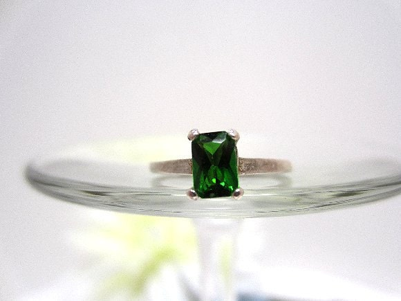 ring sterling silver chrome diopside emerald by