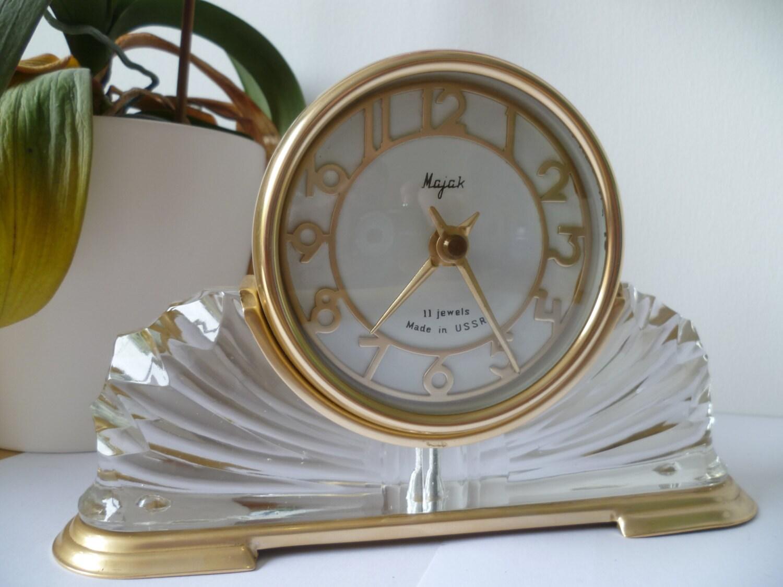 Crystal base clock 1960 art deco revival russian Majak