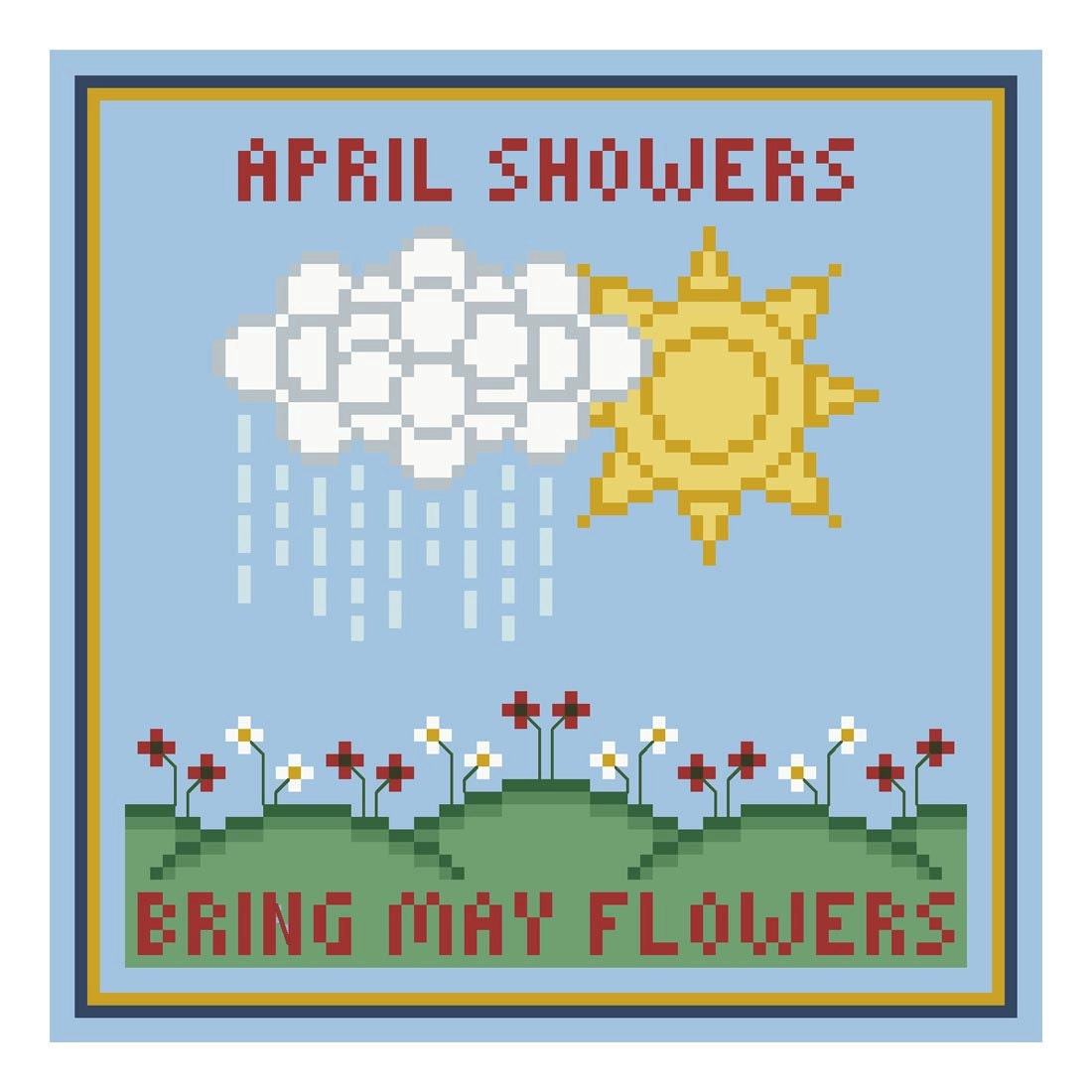 items similar to april showers bring may flowers cross stitch chart