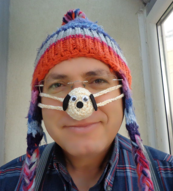 Crochet Nose Warmer : Lovely Dog Nose Warmer, Crocheted, Tween, Teen, Adult, Unisex,Gift ...