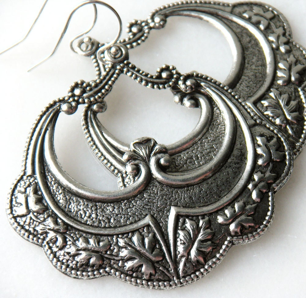 Art Deco Hoop Earrings, Vintage Inspired Silver - merryalchemy