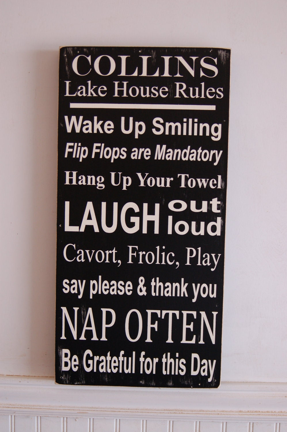 Lake House family rules subway style art wood sign by ...