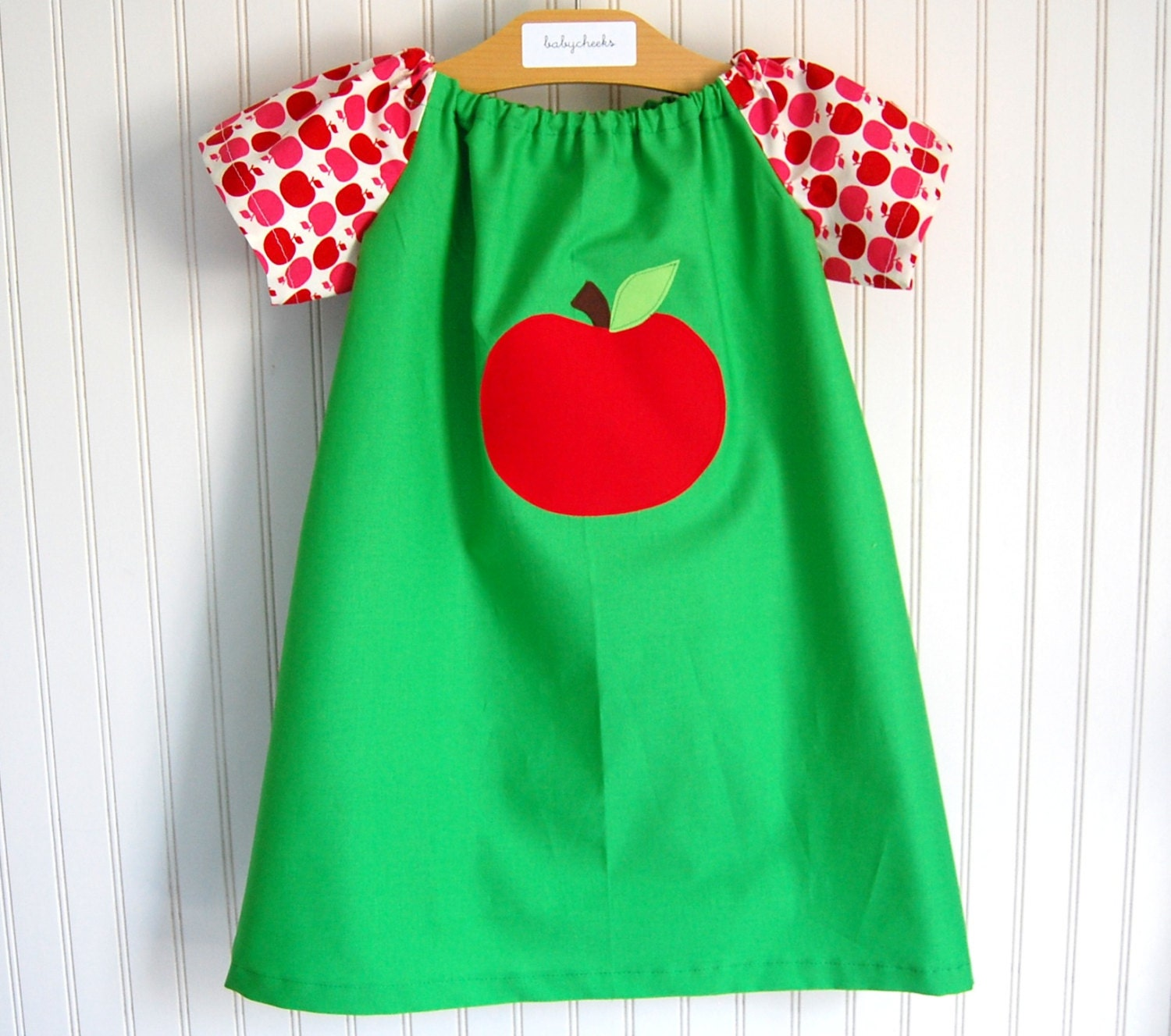 Apple Dress - Short Sleeve Peasant Style Sizes 12-18 MOS, 2/3T, 4/5T, 6/7 by The Trendy Tot - thetrendytot