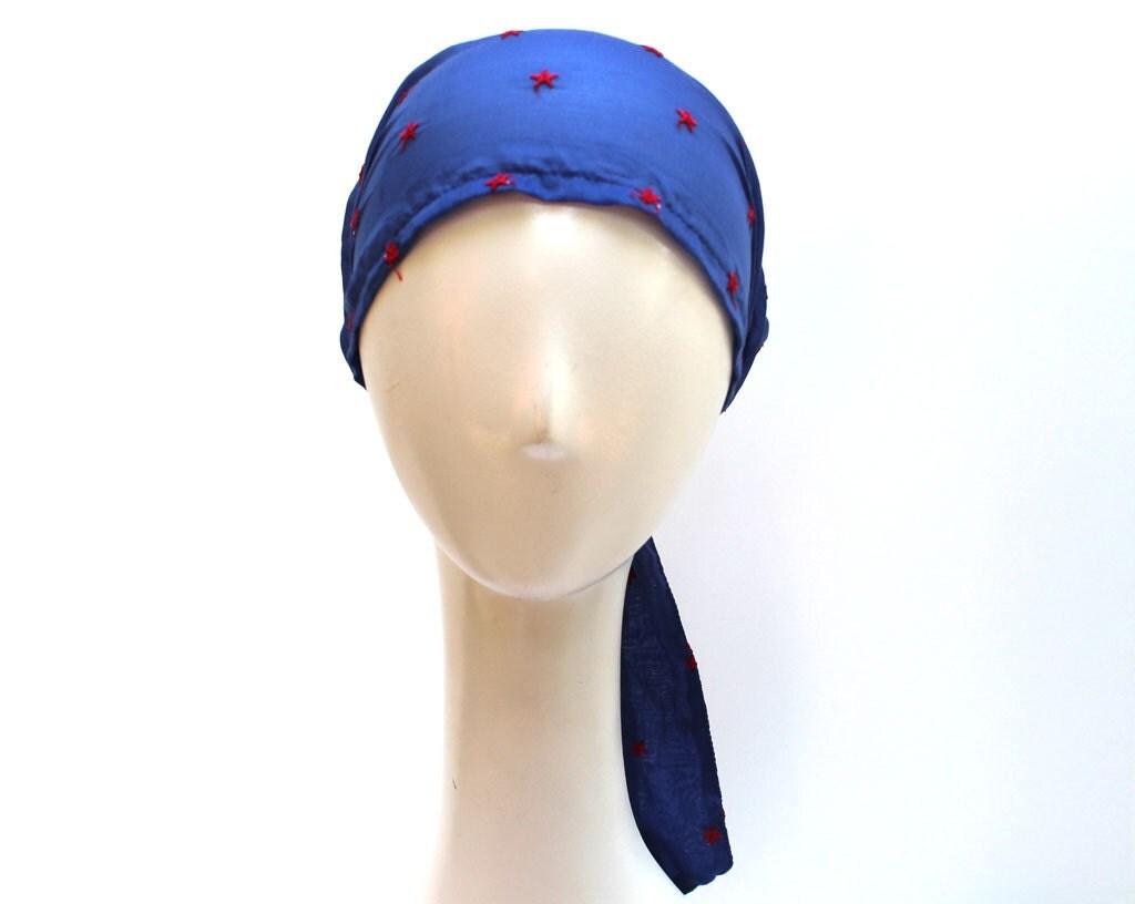Women Headscarf Light Cotton Voile Blue Boho by JEMIMAJACKMAN Cotton Head Scarves Women