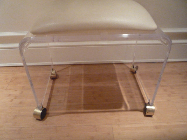 Vintage Lucite Vanity Bench Seat Chair Stool By Feelinvintage