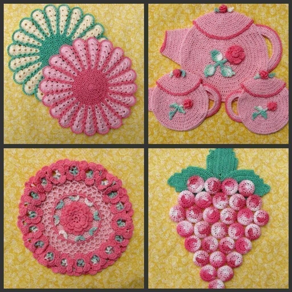 Decorative Thread Potholders Pattern Set -Pdf Crochet ebook 25 Designs