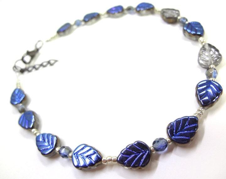 Silver and Blue Leaf Anklet - MegansBeadedDesigns