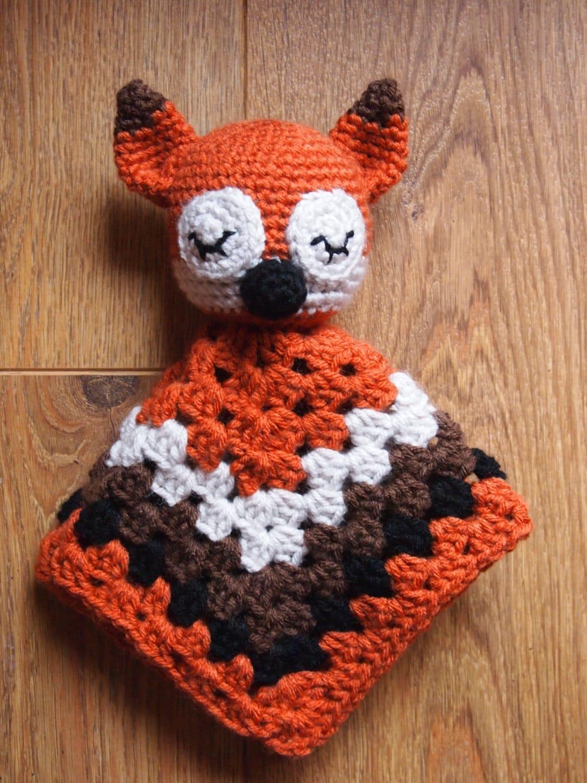 Free Crochet Fox Blanket Pattern : Baby Sleepy Fox Crochet Security Blanket Lovie Doll by ...