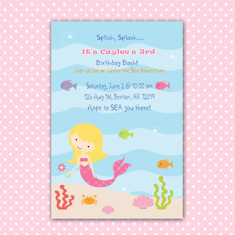Baby Shower For Third Girl ~ Mermaid birthday invitation girl under the sea by pinkthecat