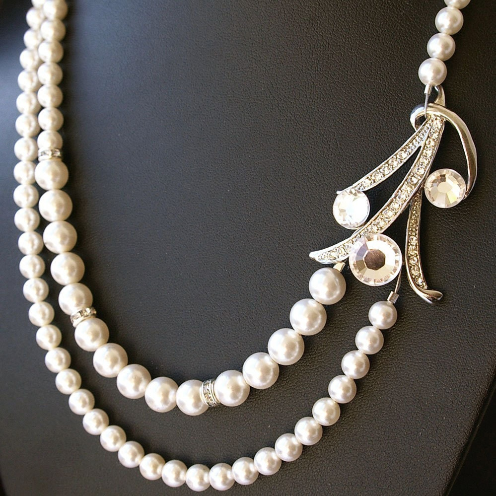 Art Deco Style Bridal Necklace Wedding Jewelry Pearl By