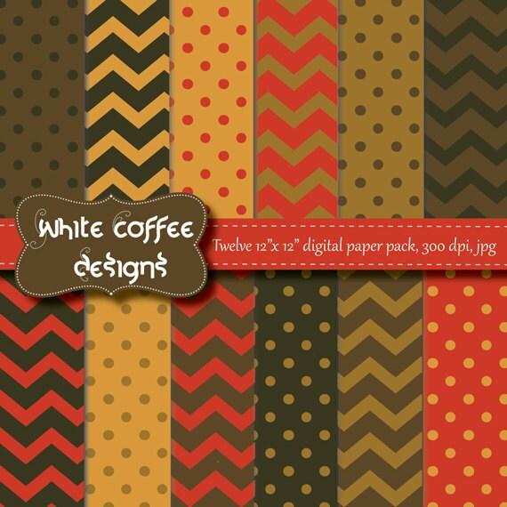 Fall digital paper, scrapbook paper, polka dot paper, chevron paper, red, pumpkin, green, seasonal paper, baby paper, instant download, cij - WhiteCoffeeDesigns
