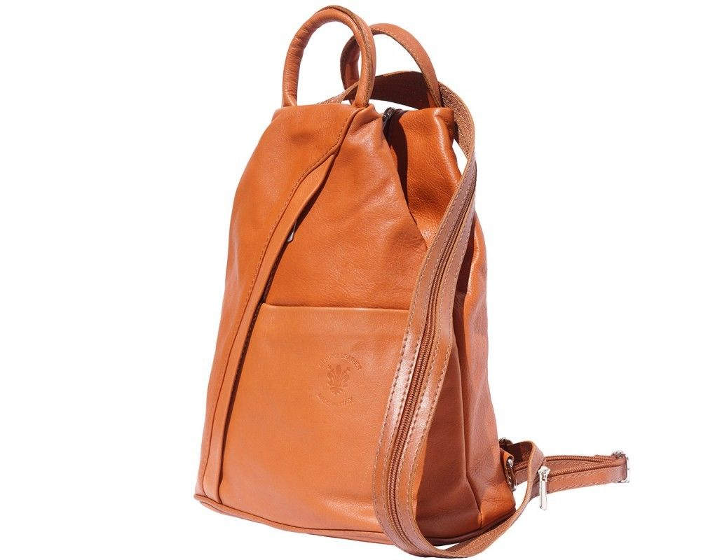 Italian Leather Backpack Shoulder Bag Handcrafted In Florence Italy in tan 2061