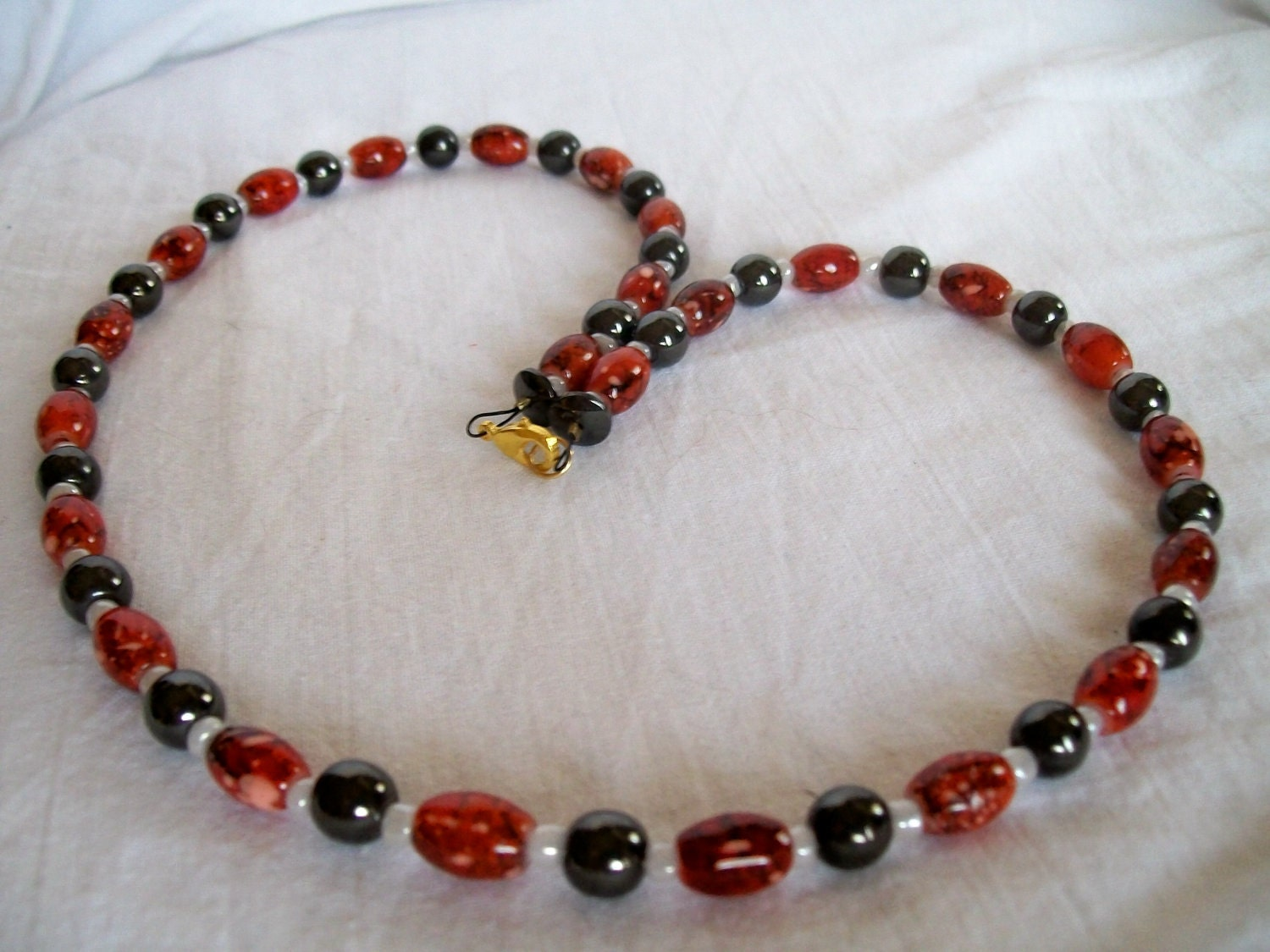 MAGNET NECKLACE of Red Acrylic Beads and Dark Grey Magnet Beads - JypsyJewels