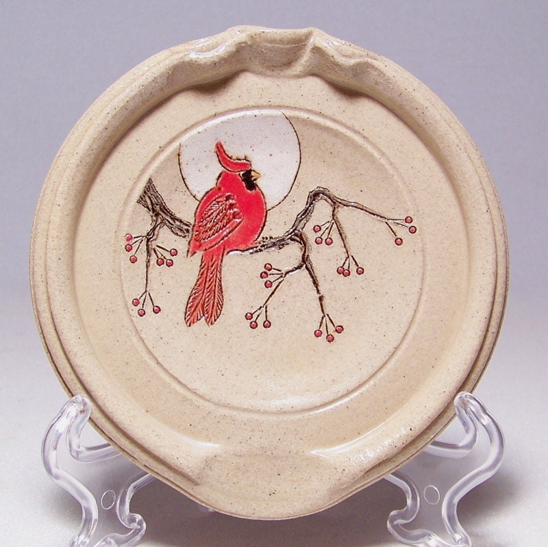 Cardinal and Red Berries 5 inch Pottery Spoon Rest rt - JimAndGina