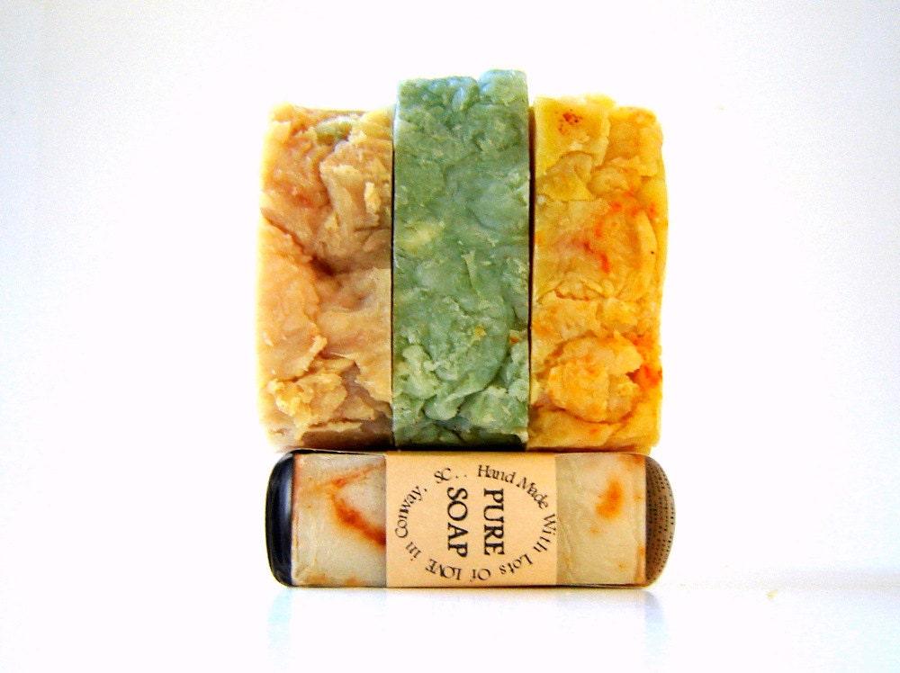 3 HUGE Rustic Hot Process Soap Bars / Autumn Soap Sampler - SoapForYourSoul