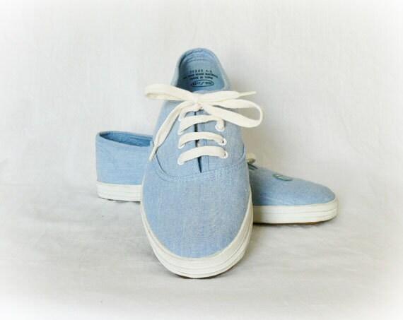 vintage 80s tennis shoes 7 5 light blue keds nos by