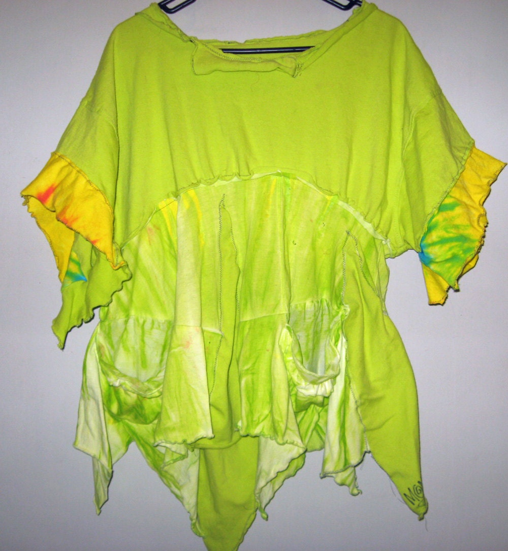 Chartruese lime Funky Upcycled Hand Dyed Top Large XL SALE