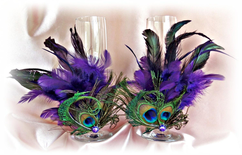 Stemware Decoration Glasses   Purple Teal Peacock Wedding Decor