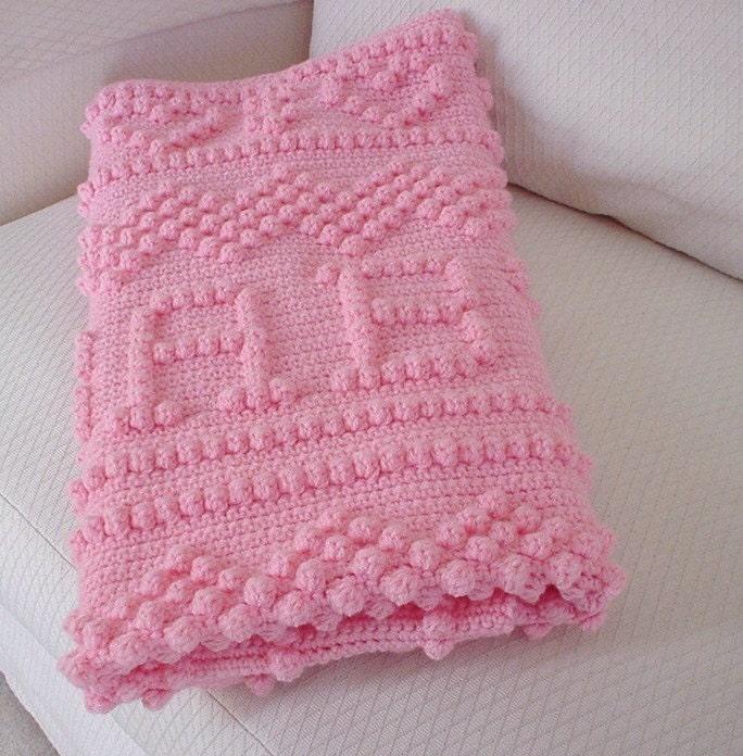 Crochet Baby Blanket Crochet Pink Puff by KarensComfyCreations