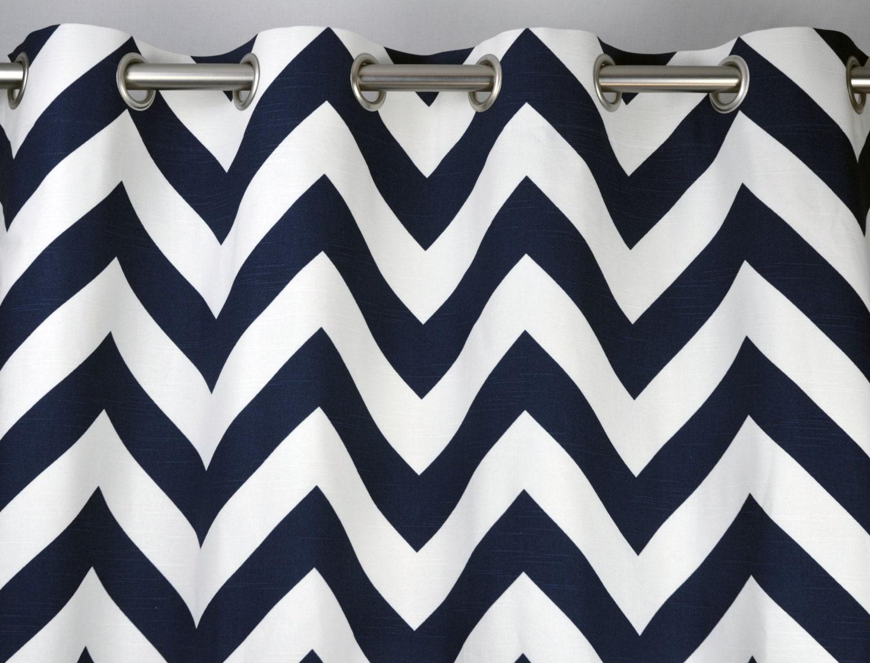 Curtains in navy blue and white slub zippy large chevron zig zag print