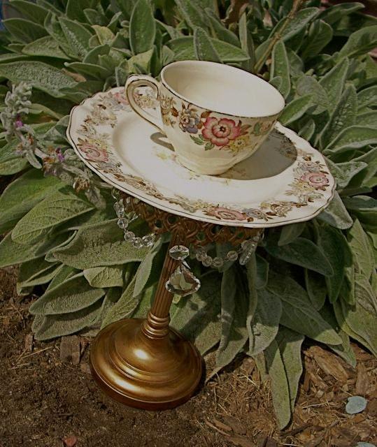 Garden decor whimsy bird feeder repurposed tea by westbrookfarm