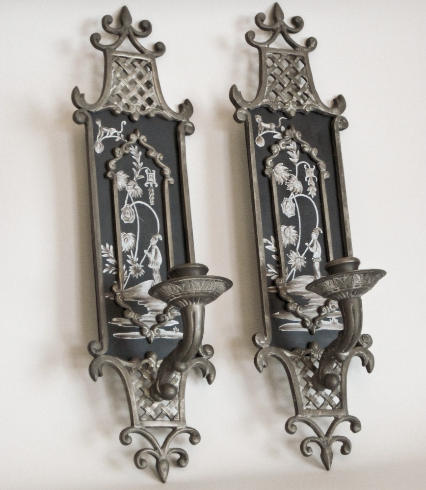 Pair of Asian Pewter Candle Sconces Candholders Wall Hanging