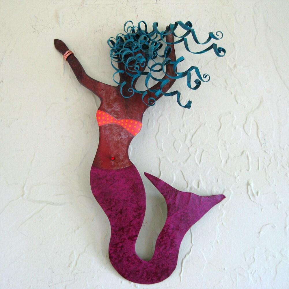 Sale Mermaid Dancer Metal Wall Sculpture By