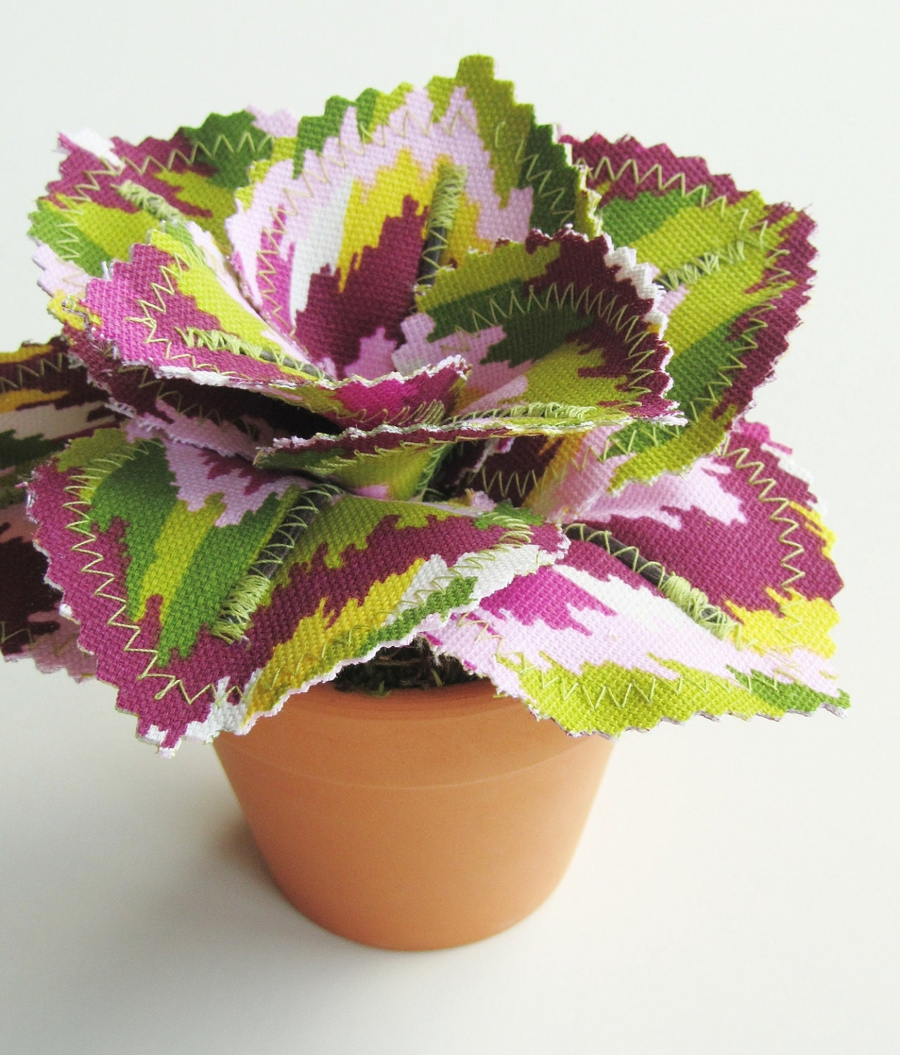 Fabric Leaf Potted Plant Cranberry Pink Lime Green By Janejoss