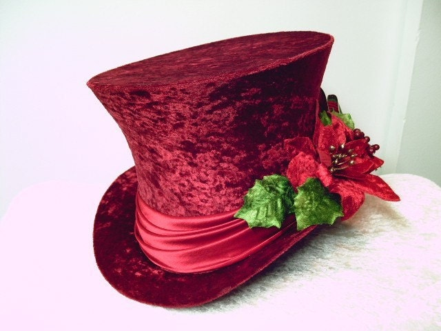Red Christmas Dickens Top Hat Carroller Holiday