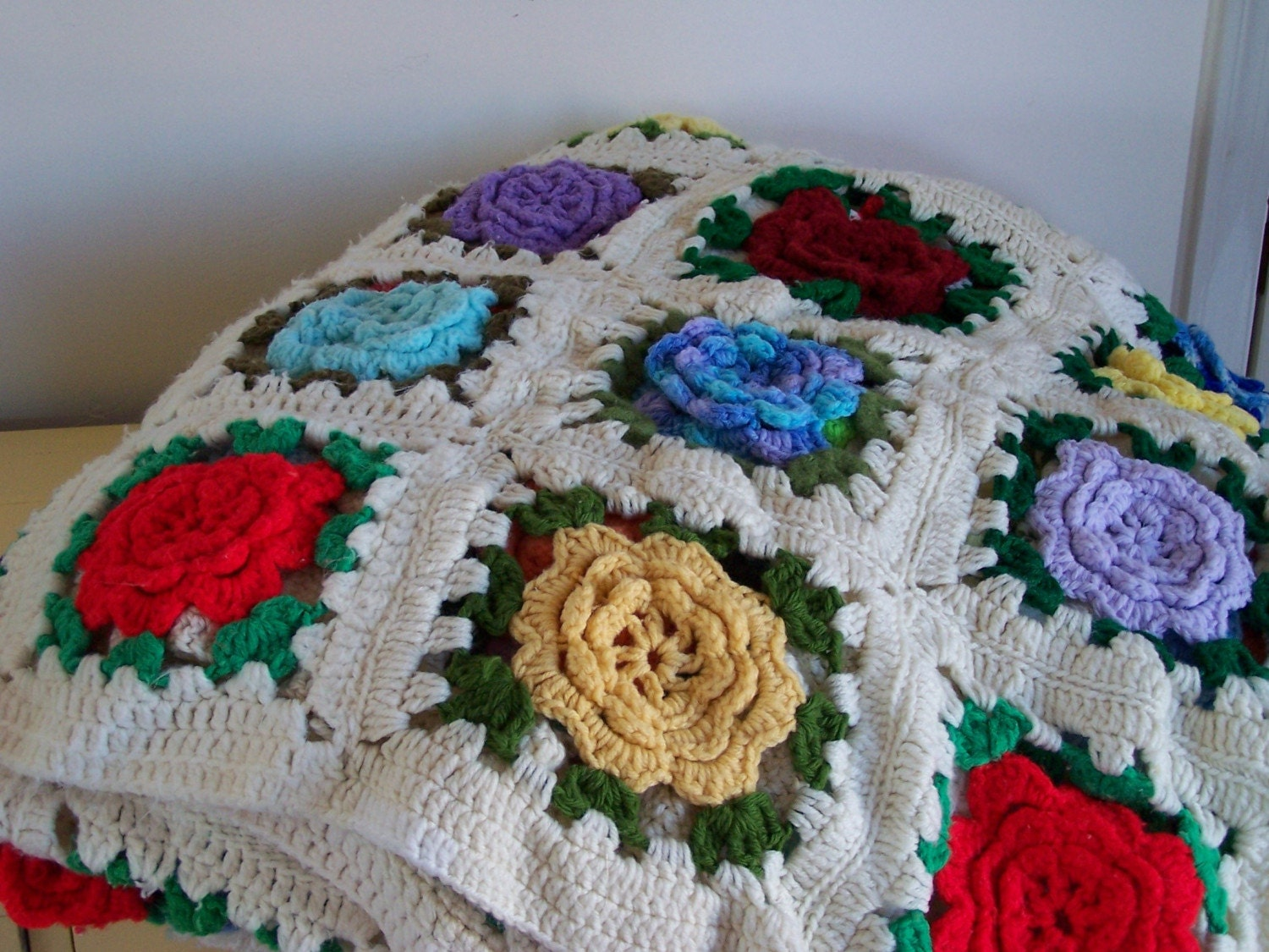 Afghan Granny Square Flower Crocheted in All by ...
