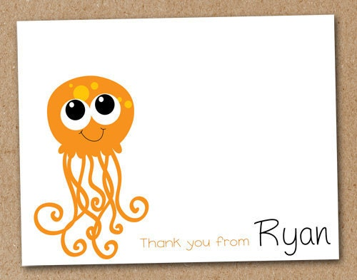 Personalized Jellyfish Cards Kids Stationery Sea Creatures (set of 8)