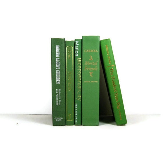 Vintage Green Decorative Books , Photo Props , Vintage Wedding Decor - DecadesOfVintage