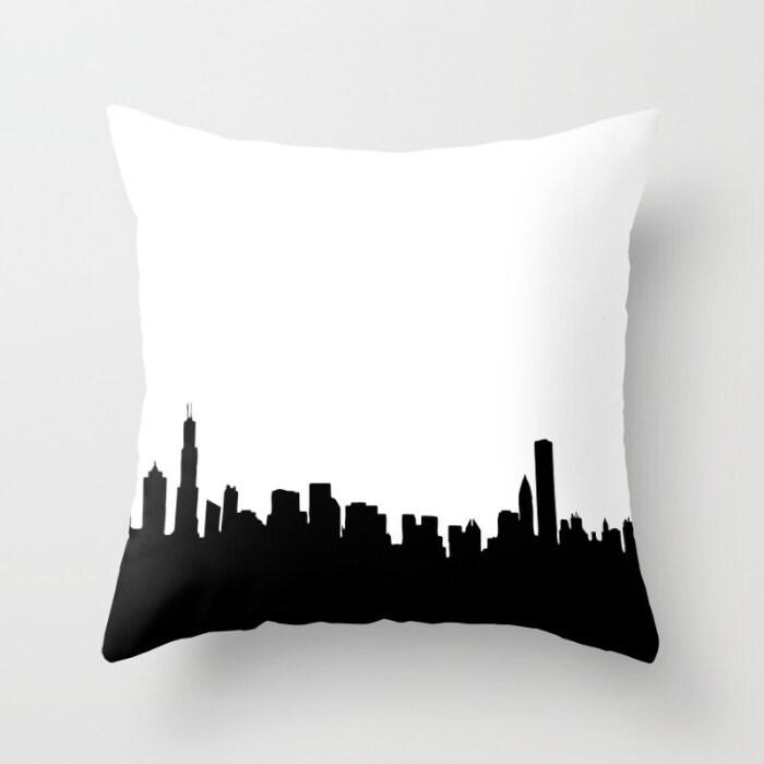 Chicago City Skyline on Throw Pillow 18 x 18  novelty throw pillows decorative throw pillows Chicago on pillows