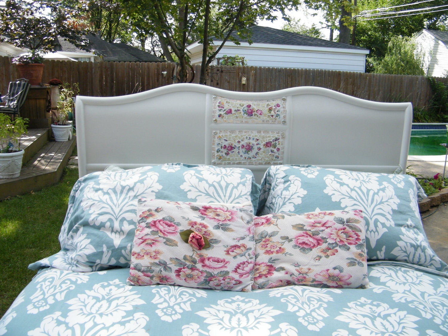 Queen Size Romantic Cottage/Shabby Chic Mosaic Headboard/ Footboard Reserved for Trelan