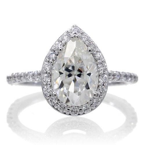 Halo Ring Pear Cut Aquamarine Halo Ring
