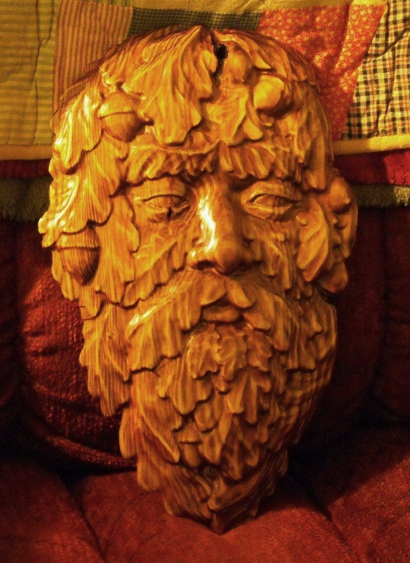 Wood carving green man face by cassedywooddesigns on etsy