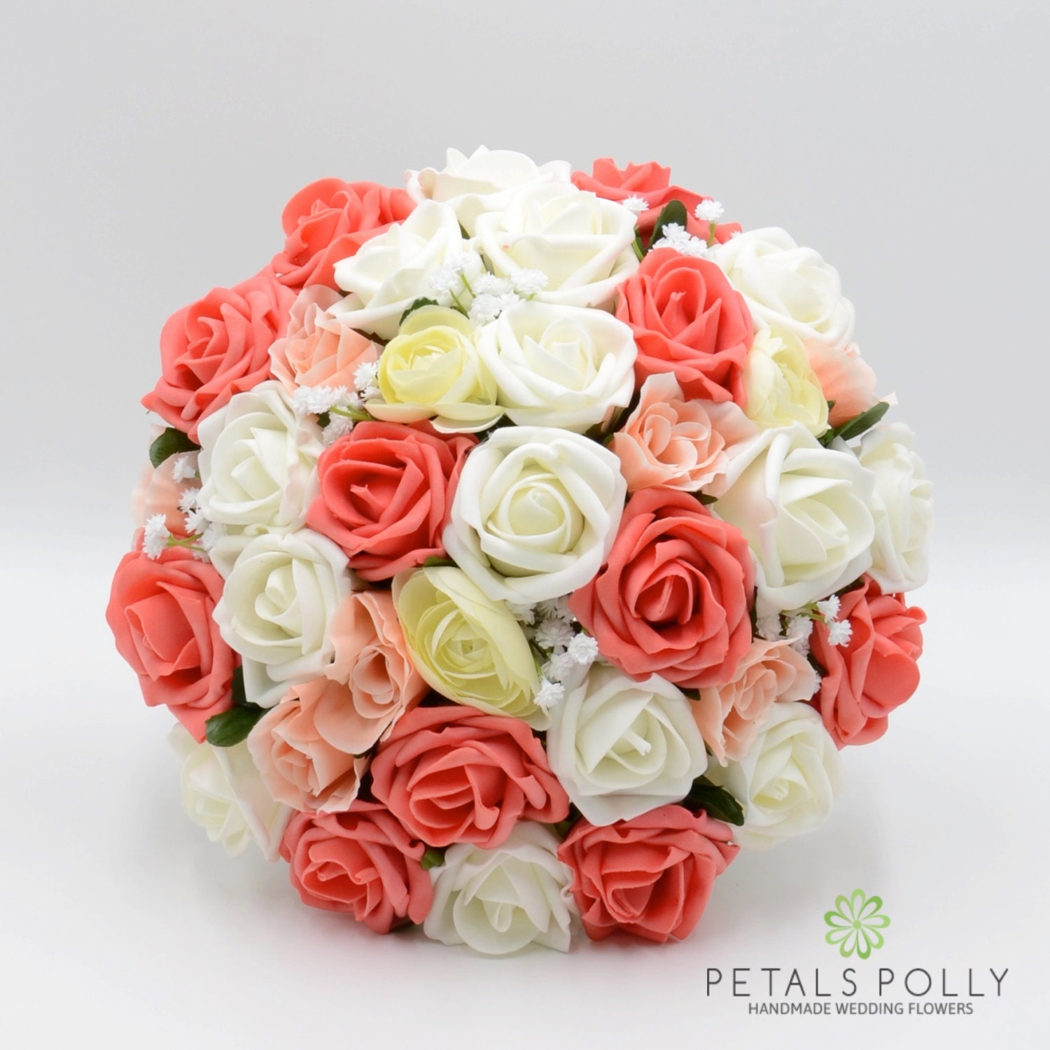 Artificial Wedding Flowers Orange Coral Peach  Ivory Brides Bouquet Posy with Ranunculus