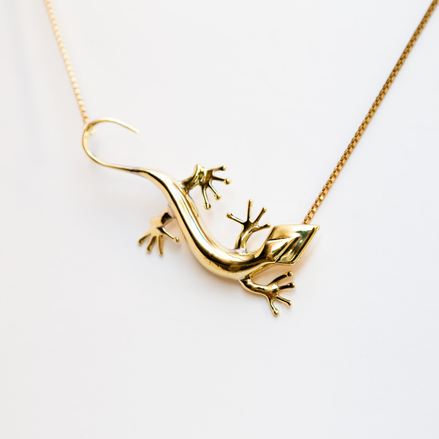 lezard lizard ghecko pendant brass necklace bisjoux by
