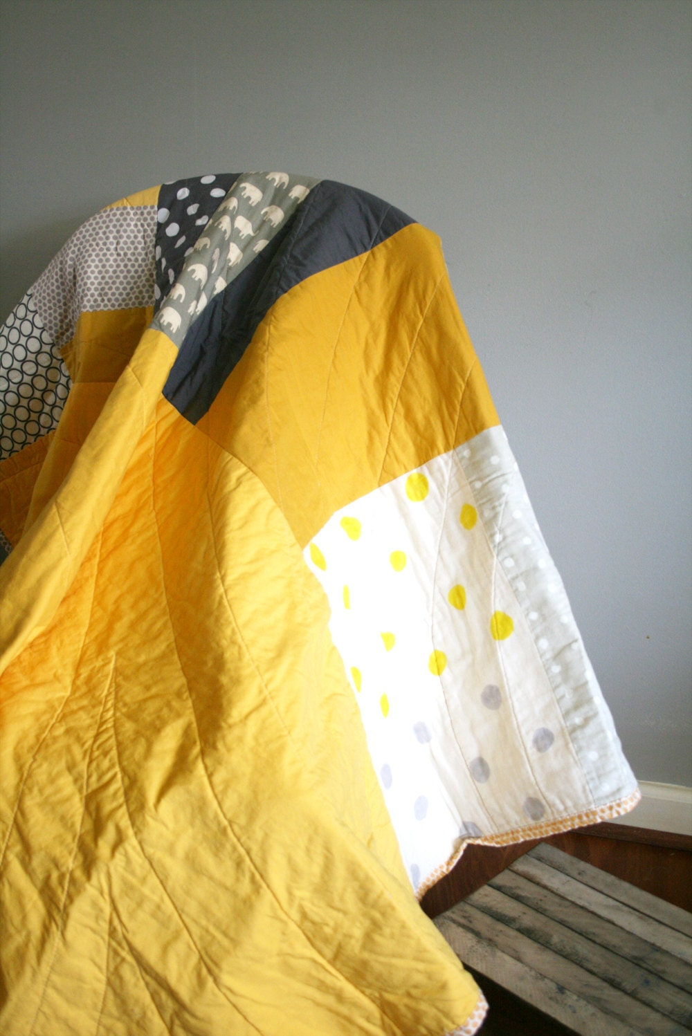 Grey and yellow with elephants and dots - kid or adult lap size, contemporary style