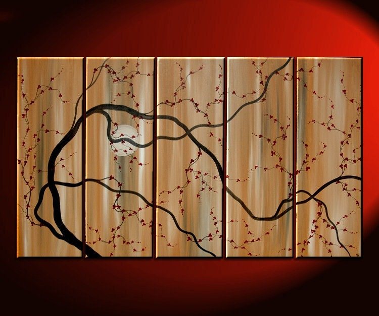 Large Painting Abstract Wall Art Caramel Brown And By NathalieVan