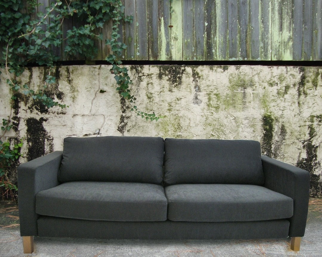 Slipcover For Ikea Karlstad Sofa Grey Microsuede By