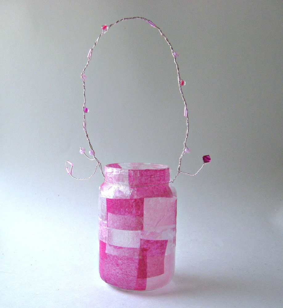 Mini Mason Jar Light Set Of 6 Lantern Vase Pink Wedding Hanging Lantern Upcycled Girly